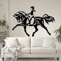 Horse Wall Decals Vinyl Sticker Horsewoman Decal Nursery Bedroom Home Decor Window Interior Design Art For Car Murals Ah147