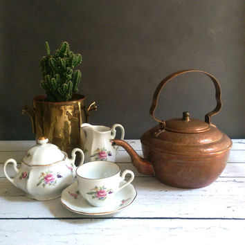 Vintage Copper Tea Kettle/ Hammered Copper Tea Kettle/ Vintage Copper Teapot/ Rustic Copper Tea Kettle