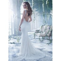 Corset Sweep Mermaid V-neck Backless Lace Wedding Dress