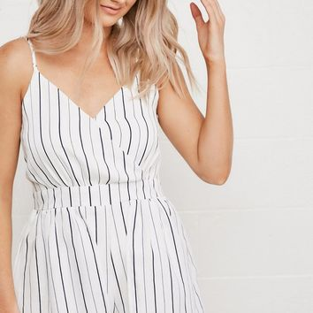 Samantha Striped Romper in White