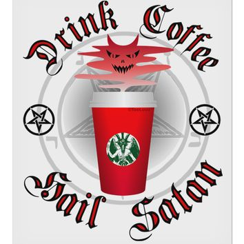 """Red Cup Drink Coffee Hail Satan 9 x 10.5"""" Rectangular Static Wall Cling by TooLoud"""