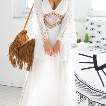 White Plunge Lattice Waist Sheer Lace Panel Backless Maxi Dress