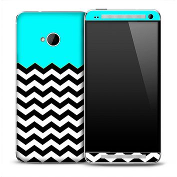 Aqua Blue White and Black 2 Toned Chevron Pattern Skin for the HTC One Phone