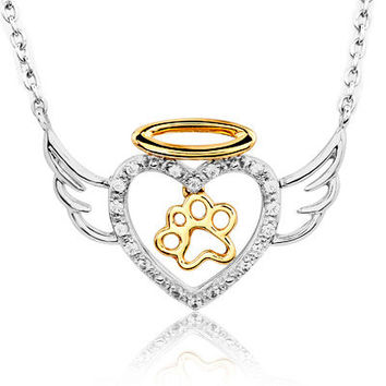 ASPCA® Tender Voices™ 1/10 CT. T.W. Diamond Paw Heart with Wings Necklace in Sterling Silver and 10K Gold - View All Necklaces - Zales