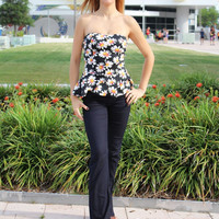 Strapless floral printed peplum top