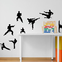 Martial Arts Karate 8 pack vinyl wall decal, karate silhouette wall decor, flying kick stickers, high kick taekwondo decal, DIY Karate decal