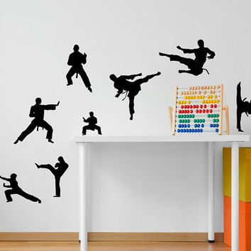 Martial Arts Karate 8 Pack Vinyl Wall Decal Silhouette Decor Flying Kick