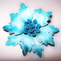 "Aqua Blue Flower Brooch Pin Layered Petal Enamel Painted Mid Century 2.5"" Vintage"