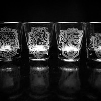 Harry Potter House Crest Shot Glasses - Set of 4- Gryffindor- Hufflepuff- Ravenclaw- Slytherin- House Logo