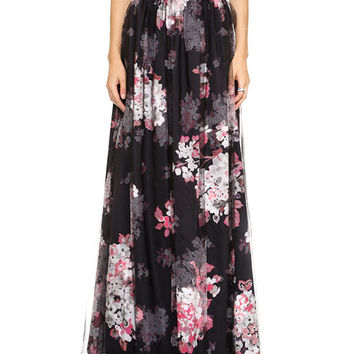 Floral A-Line Pleated Maxi Skirt