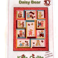 Daisy Bear,Kids Quilt,Applique Pattern,Quilt Pattern,Fusible Applique,Bear Applique Pattern,Bed Quilt Pattern,Lap Quilt Pattern