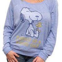 Peanuts Snoopy Today Is A Good Day Vintage Long Sleeve Off the Shoulder Raglan - Women's Tops - Long Sleeve - Junk Food Clothing