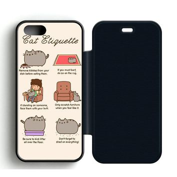 Pusheen Cat Eat Etiquette Leather Wallet Flip Case iPhone 5 | 5S
