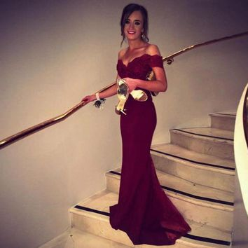 Robe De Soiree Cheap Burgundy Lace Mermaid Evening Dresses Party Elegant 2017 Off The Shoulder V Nec