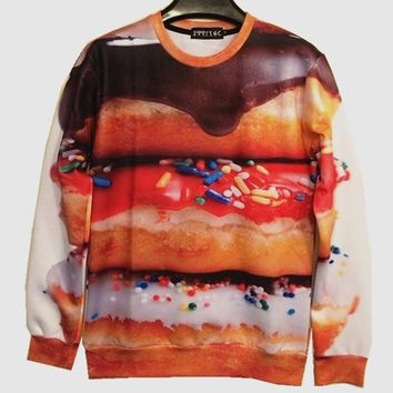Couture New 2016 Spring Women Men Funny Sweatshirt 3D Print Hoodies Coffee Beans Cabbage Chili Donuts Clothes Brand Design tops