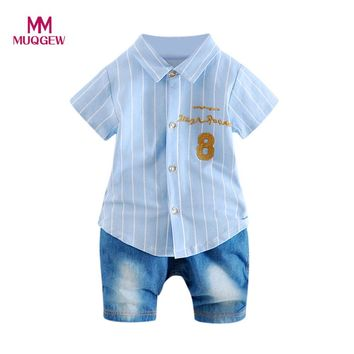 MUQGEW baby clothing Infant Baby Boys Girls Letter Striped T-Shirt Cotton Short Sleeve Tops Denim Pants 2Pcs Set Outfits Clothes