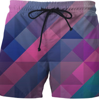 Purple Abstract Swimming Trunks