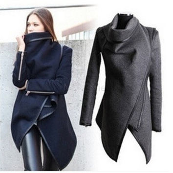 Fashion Long Sleeve Turn-Down Collar Open Stitch Woolen Plain Womens Coats