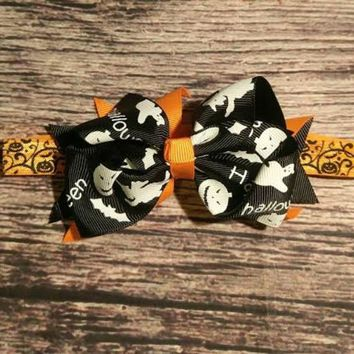 Halloween Hair Bow Headbands - Orange or Black