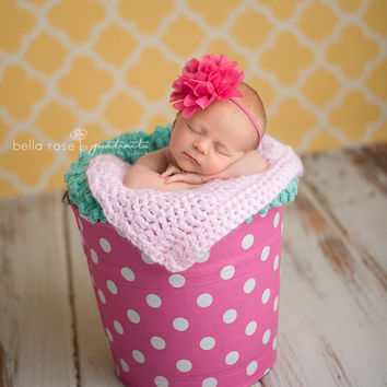 Hot Pink Headband, Newborn Pink Headband, Newborn Photo Prop, Baby Girl Prop, Newborn Headband, Flower Girl Headband