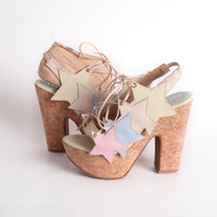 SUMMER WEDGES - Star design, lace up open platforms with pastel colors - made to order