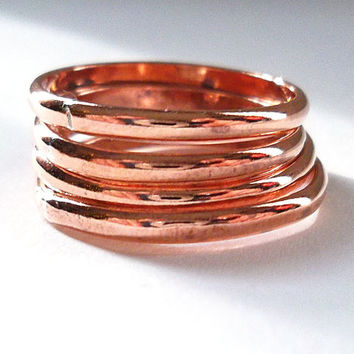 Simple Copper Rings, Set of Four Stackable Copper Ring Band (4)