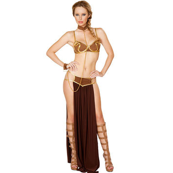 Gold Bra and Neckchain Sexy New Carnival Star Wars Cosplay Sexy Princess Leia Slave Costume L15366