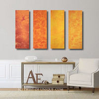 Oversized Watercolor Painting / 4 Panel collection  (36 Inches x 12 Inches) / ORIGINAL Painting / Sunrise, Sunset / Red, Orange. yellow
