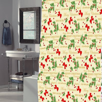 "Felices Pascuas Collection Christmas Fabric Shower Curtain (70"" x 72"") with Matching Xmas Set Hooks - Merry Christmas"
