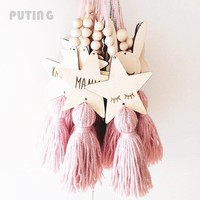 Ins Kids Room Decoration Crafts Sleepy Eyes Wood Eyelash Wall Hanging Stars Decorative Beads Tassel Photography Props GPD8224