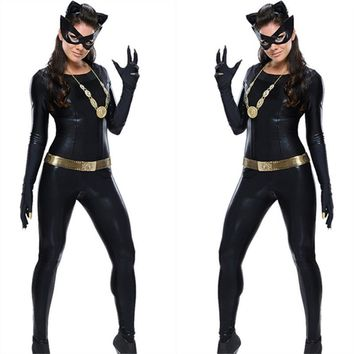 Women's  Latex Catsuit Catwomen Fancy Costume Cosplay DS Party Clothes With Gloes