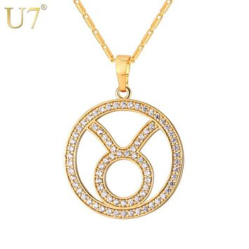 GoldTaurus Zodiac Sign Necklace