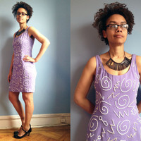 Vintage 1990's purple beaded shift dress