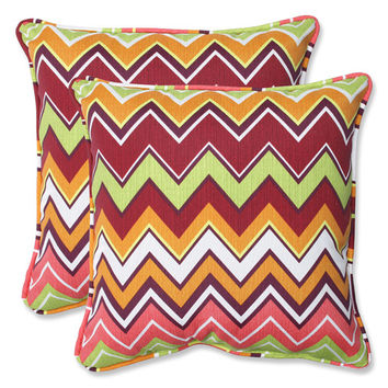 Pillow Perfect 543062 Green and Pink Outdoor Zig Zag Raspberry 18.5-inch Throw Pillow, Set of 2