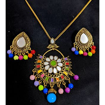 Mirror work Antique gold finish pendant chain necklace and stud earring set