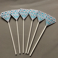 Glittered Diamond Cupcake topper on lollipop sticks. Bridal Shower Cupcake topper, Wedding Cupcake topper, Silver and Turquoise partypicks