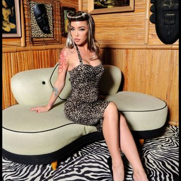 "Dixiefried ""Glamour Girl Dress"" in Leopard print Stretch Sateen - Clothing 