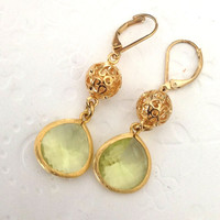 Dangle drop earrings   Gold leverback earrings with light peridot green glass, Bridesmaid gifts for her Valentines day Jewelry