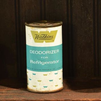 Watkins Tin Refrigerator Deodorizer  Retro Mid Century Look Vintage Round Tin Display Only