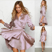 3/4 Sleeve V Neck Flounce Dress