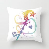 Cute Rainbow Silhouette Heart Moon Key With Locket Throw Pillow by Sampsonknight