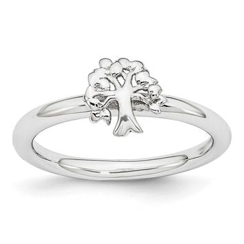 Rhodium Plated Sterling Silver Stackable Expressions 8mm Tree Ring