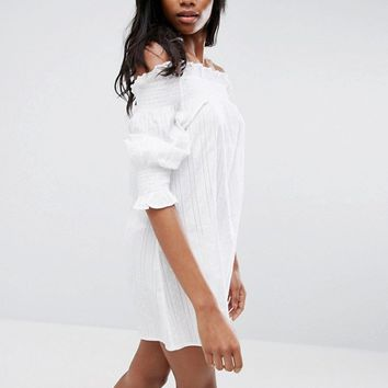 ASOS Off Shoulder Beach Dress in Texture at asos.com
