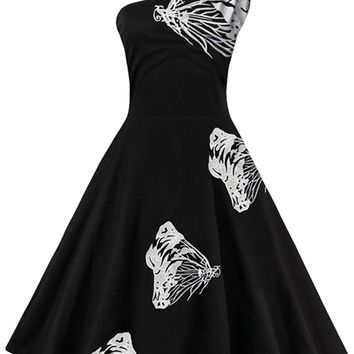 Atomic White Embroidered Butterfly Swing Dress