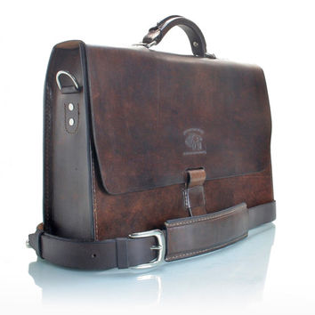 "Rustic Distressed Leather Messenger Bag  Briefcase Laptop Satchel fits Macbook Pro 16"" 215"