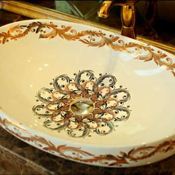 Oval Bathroom Lavabo Ceramic Counter Top Wash Basin Cloakroom Hand Painted Vessel Sink 5050
