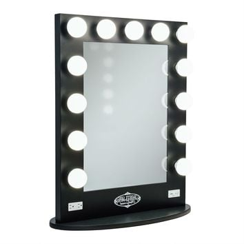 Salon Style Lighted Vanity Mirror in Gloss Black