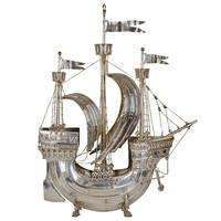 Large Silvered Model of a Ship