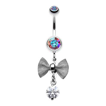 Dainty Bow Gem Sparkle Belly Button Ring