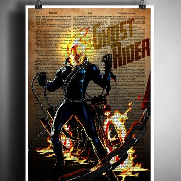 Ghost rider Vintage pop art print, Retro Super Hero Art, Dictionary print art